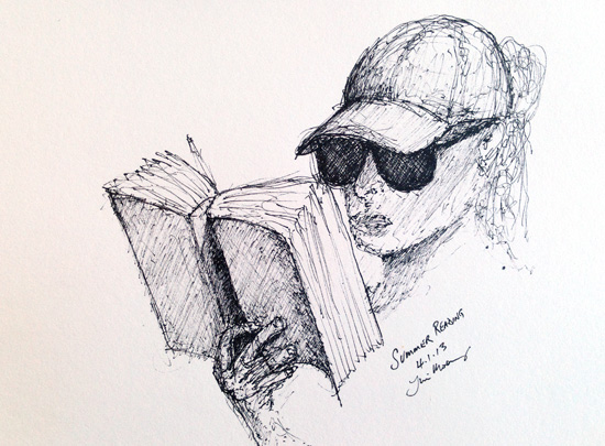 sketch of female reading